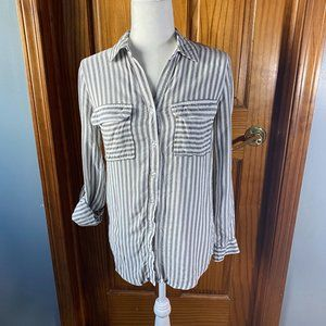 Anthropologie striped button down shirt-gray-Small